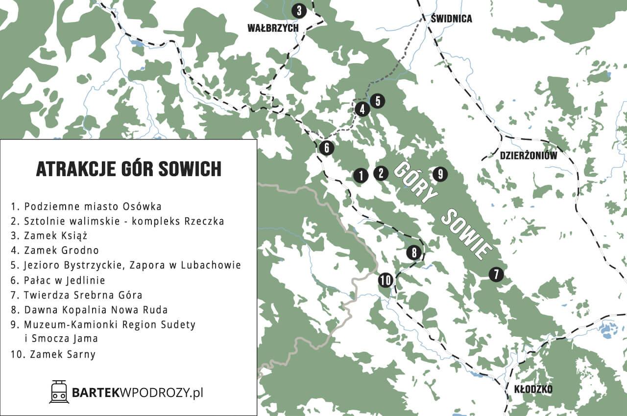 Atrakcje Gór Sowich mapka Bartekwpodrozy.pl blog podróżniczy
