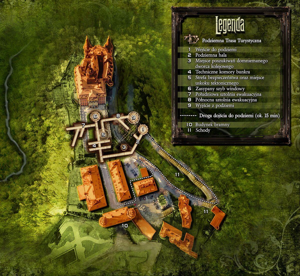 Plan podziemi Zamek Książ kompleks Riese