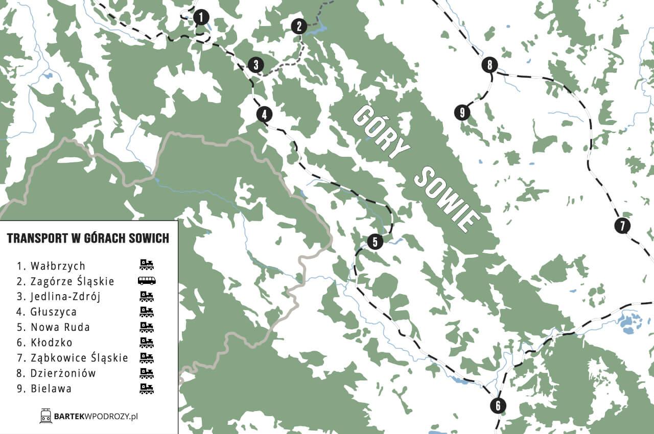 Transport Góry Sowie mapka