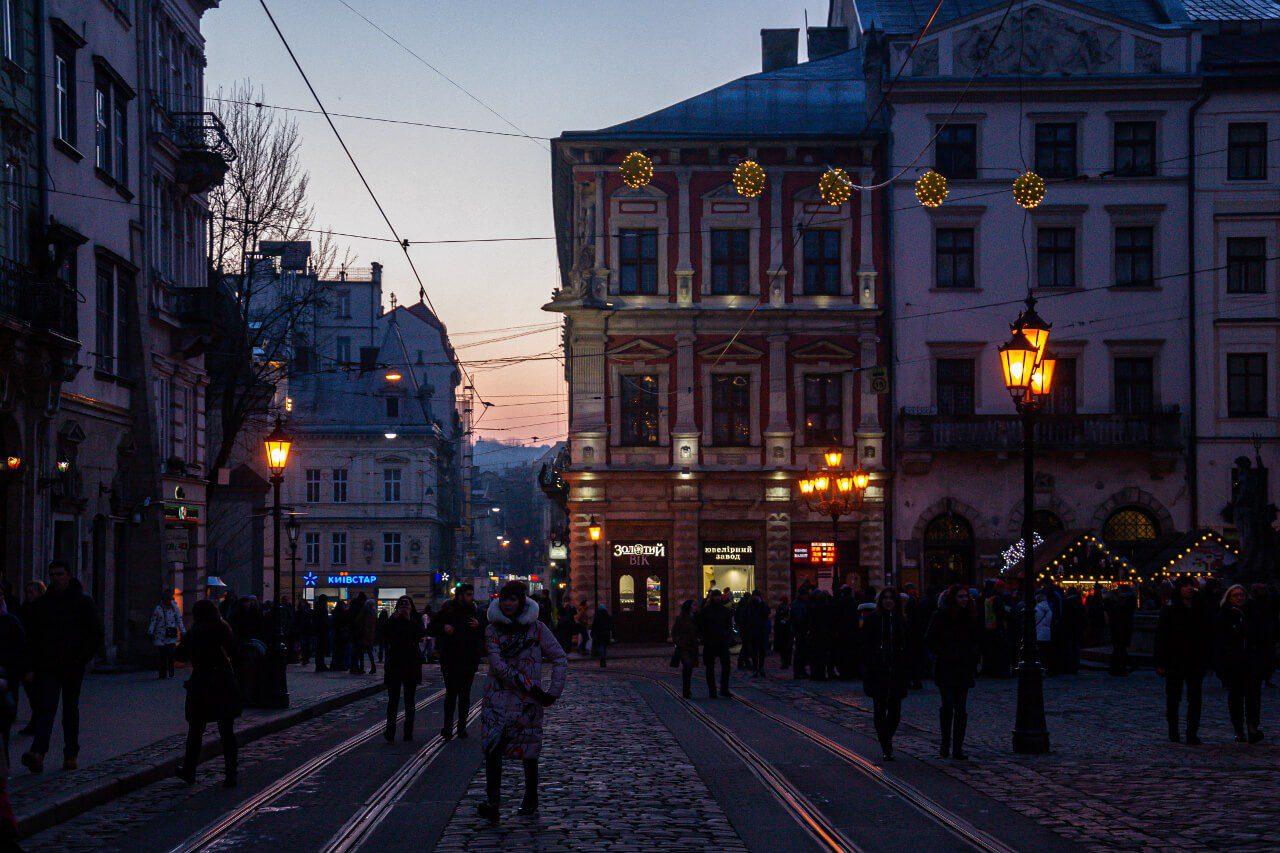 Zachód słońca Lwów Rynek