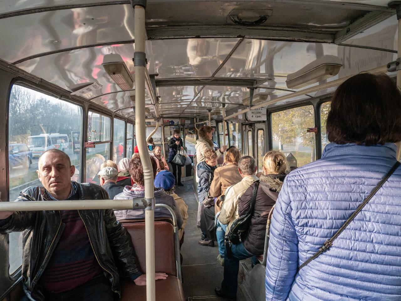 Trolejbus Zaporoże Ukraina języki obce w podróży