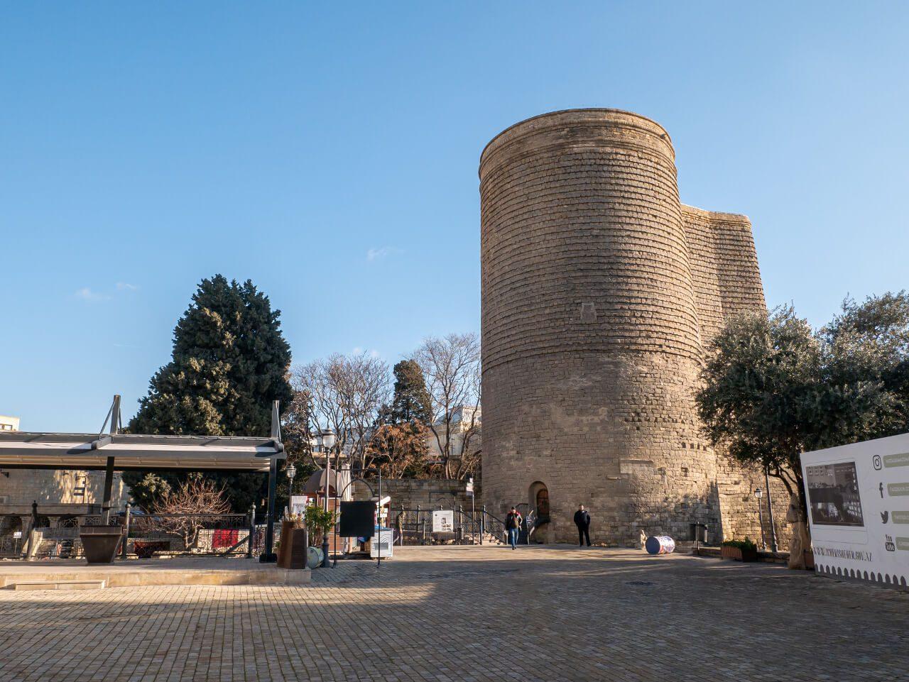 Widok Baszta Dziewicza Miasto Wewnętrzne Baku
