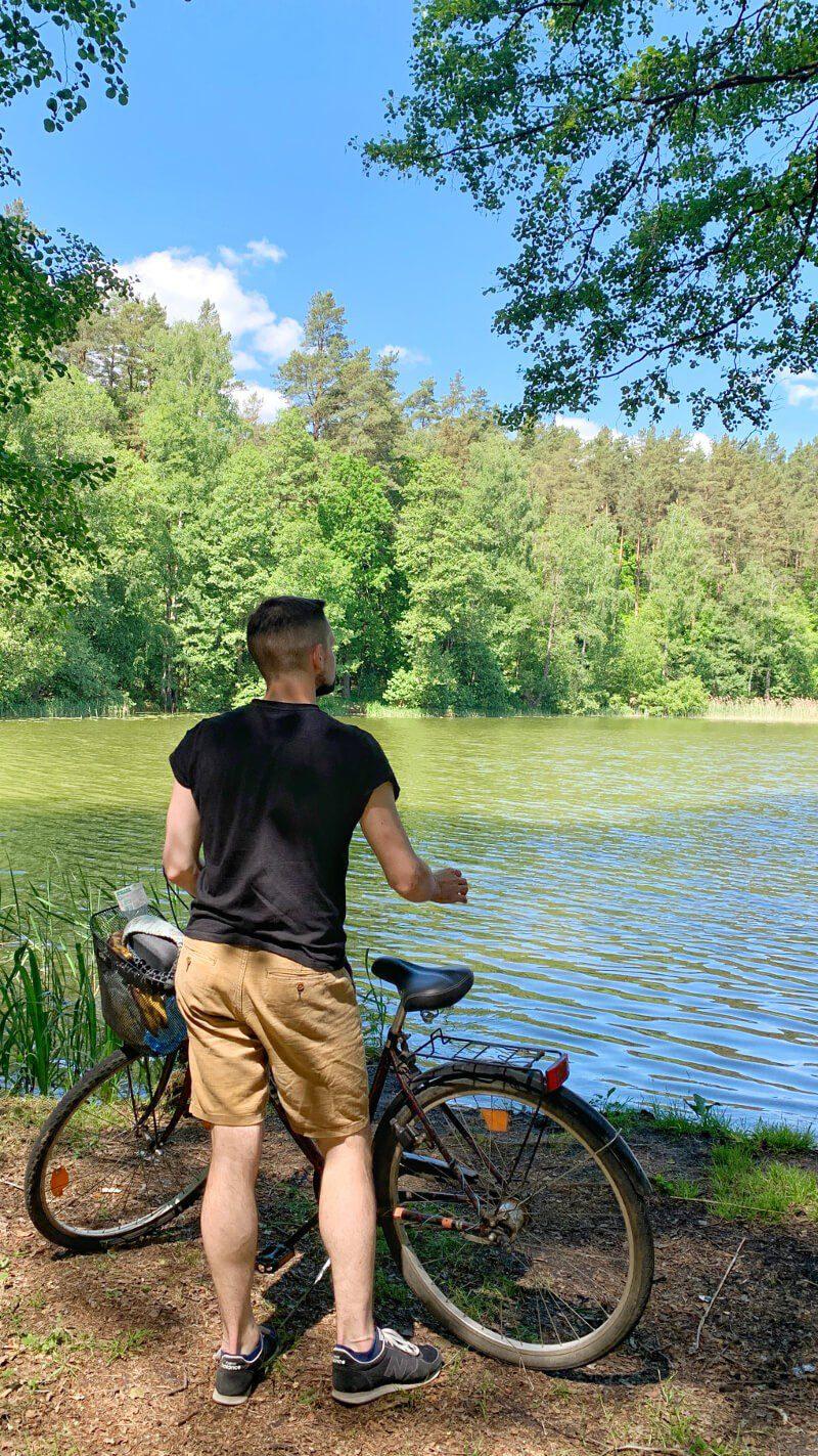 Bartek rower Mazury Zachodnie jezioro