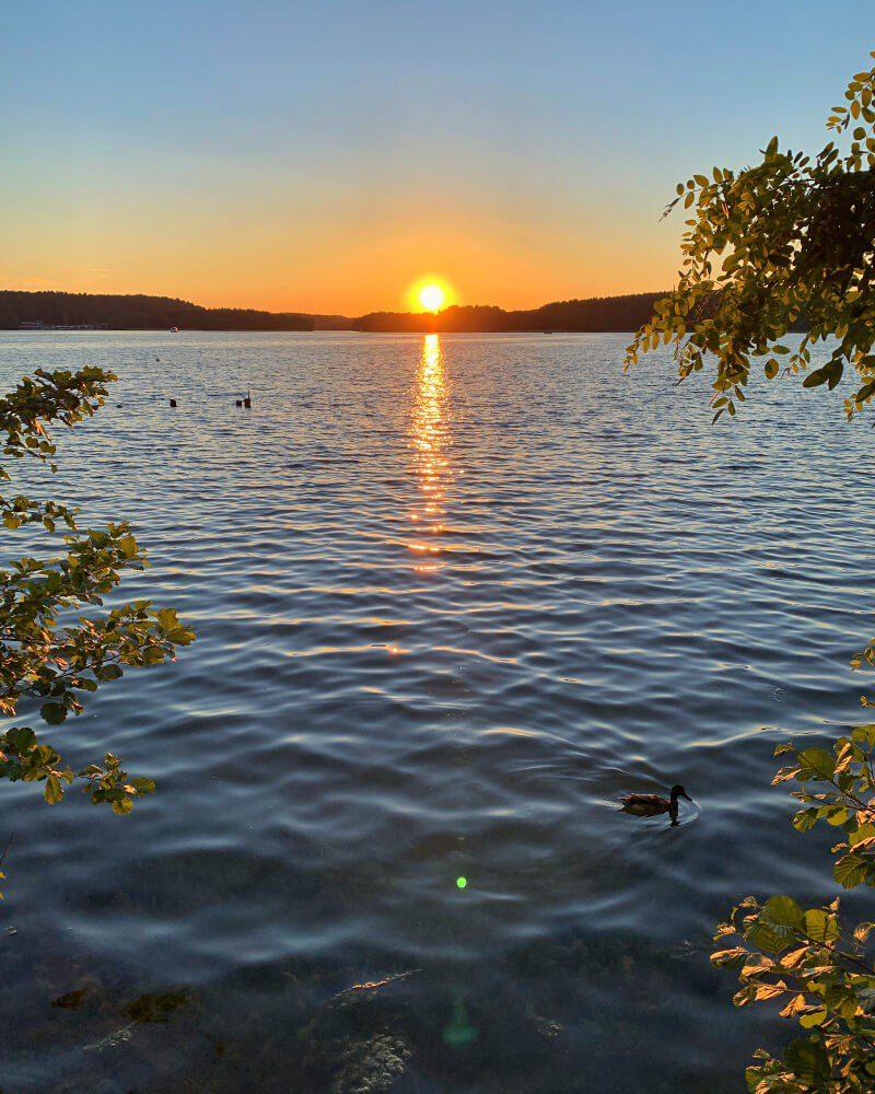 Zachód słońca jezioro Ukiel Olsztyn