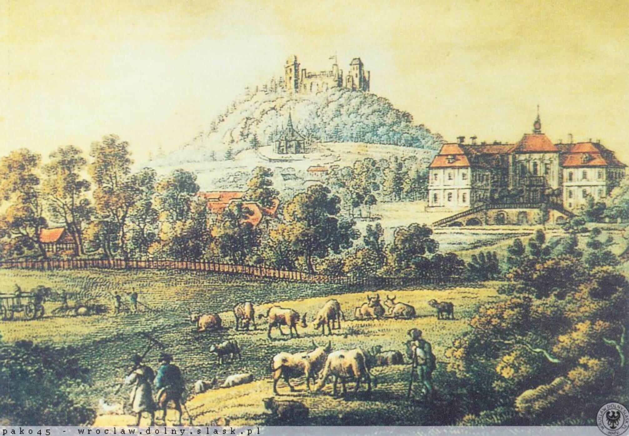 Zamek Na Wzgórzu Grodziec Pałac w Grodźcu Rycina Zdjęcie Archiwalne Co Zobaczyć w Okolicy Parku Krajobrazowego Chełmy2